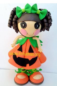 My latest creation Pumpkin Lalaloopsy.I made her out of foam sheets. She is 10…