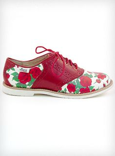 Rosy Disposition Saddle Shoes---  Show off your rosy disposition with these adorable vintage inspired 1950's style saddle shoes designed by Rachel Antonoff. They feature an off-white body covered in lovely red roses and green leaves, contrasting deep red leather details and trim, white rubber soles, and red laces. This classic saddle-shoe style. 124USD
