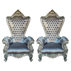 Pair of Large Baroque Ceremonial Style Armchairs   From a unique collection of antique and modern armchairs at https://www.1stdibs.com/furniture/seating/armchairs/