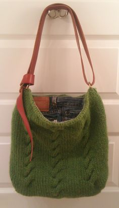 My Favorite Jeanslined Knit Purse by RoninGoods on Etsy, $150.00