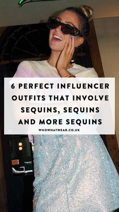 Who doesn't love sequins? From sequined-skirts to the best dresses, see and shop the best sequins look perfect for your work party: Girl Outfits, Party Outfits, Sheer Tights, Work Party, Shearling Jacket, Embellished Top, Bandeau Top, Who What Wear, Blue Denim