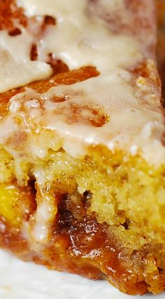 Peach Coffee Cake with Vanilla Glaze - lots of peaches with brown sugar, cinnamon, and nutmeg. CREAMY deliciousness!