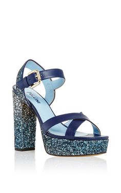 Studio pollini degrade glitter leather sandal by POLLINI for Preorder on Moda Operandi