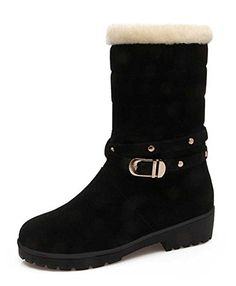 Women Round Toe Lace up Platform Wedges Comfy Warm Fur Lined Mid Calf Boots