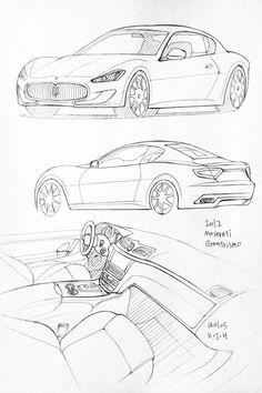Car drawing 160105.  2012 Maserati Granturismo.   Prisma on paper.  Kim.J.H
