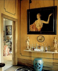 """Lady Diana Cooper, Hall into Drawing Room, """"Rooms"""" book, photo by Derry Moore, classic, elegant, British"""