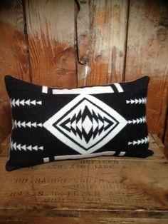 Native American  Blanket Throw Pillow, Pendleton Wool Fabric, Black White. $42.00, via Etsy.
