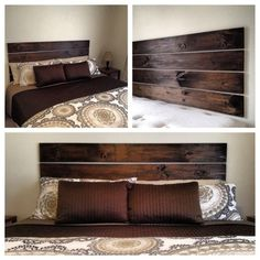 DIY headboard! Four 1X6 boards, a sanding block, and a can of stain. Hang with large 3M strips (up to 16lbs and these are just over 5lbs each).  simple.