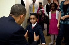 Obama and young constituent