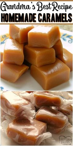 These Homemade Caramels Will Absolutely Melt In Your Mouth Incredible From Scratch Recipe For Homemade Caramel Made With Heavy Cream And Butter. Ideal For Christmas Goodie Plates Candy Recipe From Butter With A Side Of Bread Homemade Caramel Recipes, Homemade Candies, Fudge Recipes, Homemade Caramels, Cookie Recipes, Homeade Candy, Homemade Sweets, Homemade Recipe, Homemade Food