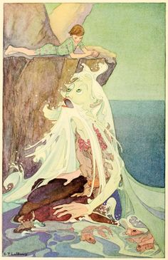 Dorothy Lathrop ~ Old Man of the Sea ~ A Little Boy Lost ~ 1920 He in turn, leaning over the rock stared back into Martin's face with his im...
