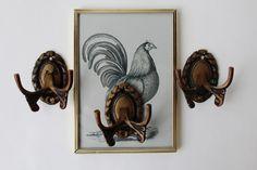 Vintage Hakenleisten - Drei Doppelhaken aus Metall Vintage - ein Designerstück von birdybranch bei DaWanda