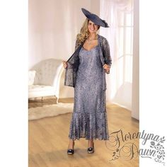 Penguin Designs Gunmetal Lace Dress and Longer Length Jacket