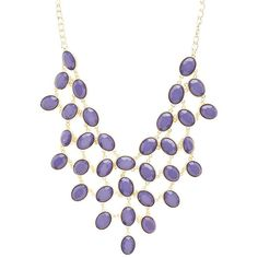 Charlotte Russe Colored Faceted Stone Bib Necklace ($6) ❤ liked on Polyvore featuring jewelry, necklaces, blue, bib necklace, charlotte russe jewelry, blue jewelry, blue necklace and chunk jewelry