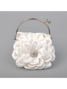 70% off White Satin Wedding Handbag with Chain/Strap and Hand-made Flowers for Wedding Party MS47AF825 in 20+ Colors