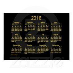 Neon Gold 2016 Wall Calendar by Janz