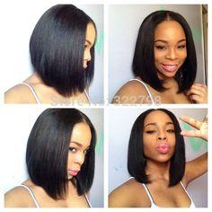 Indian 100% human hair u part bob wig 1# 1b# natural black in stock 130 150 180 density u part human hair bob wigs for women