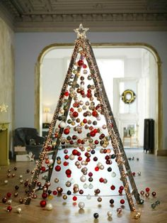 Ladder Christmas Tree is very fun and you can decorate it with your imagination. Although lots people love a traditional tree,they may also like Ladder Christmas Tree. You can save … Ladder Christmas Tree, Unusual Christmas Trees, Alternative Christmas Tree, Noel Christmas, Christmas Tree Decorations, Christmas Ornaments, Christmas Ideas, Christmas Balls, Green Christmas