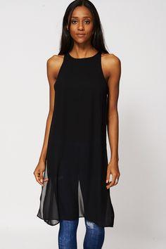 Black Long Sheer Top/Dress