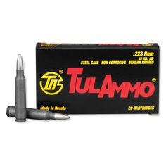 TulAmmo .223 Remington, 20 Rounds, Steel Case, 55-grain FMJ bullet.