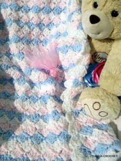 "Chunky Blanket SIMPLE TUTORIAL PATTERN, Pdf Easy Baby Blanket ""Boy or Girl"", White Blue Pink Baby Afghan, Lyubava Crochet Pattern number 55. $3.99, via Etsy."