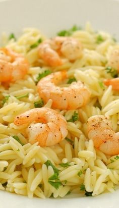 Lemon Pepper Shrimp Orzo (substitute risotto for Orzo) Orzo Recipes, Fish Recipes, Seafood Recipes, Dinner Recipes, Cooking Recipes, Healthy Recipes, Recipies, Shrimp Recipes With Rice, Bread Recipes