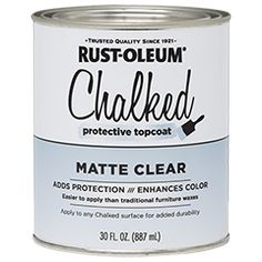 Rust-Oleum® Chalked Protective Topcoat is a clear coating that is applied over Chalked Ultra Matte Paint. It adds protection and durability, while enhancing color. Apply over Chalked Ultra Matte Paint to make any piece last and keep it timeless.