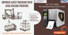 The TSC TTP-346M Pro industrial barcode printer works with a resolution of 300 dpi and prints with up to 203.2 mm/s. 6-keys LCD display, a parallel-serial one and a USB 2.0-interface count to the base equipment.