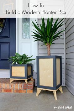 Want to add some modern flare to your outside (or even inside! Grab the free building plans to build your own DIY Modern Planter Boxes and check out this quick tutorial video here! These DIY p Woodworking Plans, Inside Decor, Woodworking Plans Patterns, Woodworking Plans Free, Diy Plant Stand, Wood Planters, Modern Planters, Modern Diy, Free Building Plans