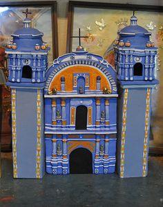 A model of the church of Ocotlan de Morelos, Oaxaca by Guillermina Aguilar and family. Ocotlan, Oaxaca Mexico