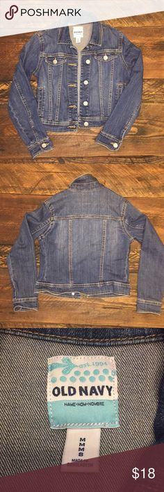 Old Navy denim jacket in girl's size 8 Old Navy denim jacket in girl's size 8.  My daughter received it as a gift, but has only worn it once.  It is in perfect condition.  No stains, tears, holes, or rips. Old Navy Jackets & Coats
