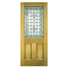 Wickes Avon External Oak Veneer Door Glazed 2 Panel 2032 x Oak Front Door, Wooden Front Doors, Wood Doors, Front Hallway, External Timber Doors, Traditional Front Doors, Traditional Homes, Two Panel Doors, Modern Exterior Doors