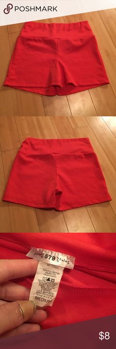 High waist stretchy shorts This has been worn. No rips or stains. Cute and comfy. Comes from pet friendly home. Good condition. 5 • 7 • 9 Shorts