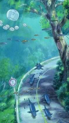 Studio Ghibli Art, Studio Ghibli Movies, Kawaii Wallpaper, Cartoon Wallpaper, Anime Scenery Wallpaper, Wallpaper Backgrounds, Miyazaki, Animes Wallpapers, Cute Wallpapers