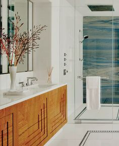 Love the interesting panel detail on the floating vanity, looks like a piece of furniture. Love the shower wall! Bad Inspiration, Bathroom Inspiration, Interior Inspiration, Bathroom Ideas, Bathroom Organization, Bathroom Interior, Modern Bathroom, Design Bathroom, Small Bathroom