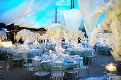 elevated white flower centerpieces