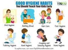 Hygiene isn't just about maintaining a good appearance. In fact, it is a proactive way to prevent the spread of viruses and bacteria. Good personal hygiene habits will help your child stay healthy…More Hygiene Lessons, Health Lessons, Hand Hygiene, Oral Hygiene, Healthy Habits For Kids, Stay Healthy, Healthy Eating, Healthy Weight, Healthy Food