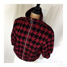 Adorable Express cropped bomber jacket Adorable black and red large herringbone print cropped bomber jacket from Express size XS fully lined ponte knit polyester/rayon/spandex elastic bottom elbow length sleeves 18 inches long Express Jackets & Coats