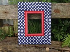 Fabric Covered Picture Frame Wood Frame Navy and by TheRedWoodBarn