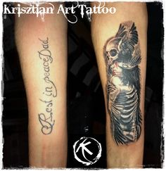 Krisztian Art Tattoo - Cover up tattoo forearm skull and girl
