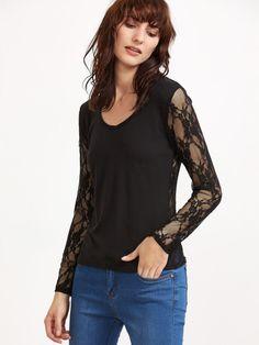 Camiseta con bordado de flor con encaje-Sheinside