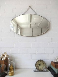 Vintage Bevelled Edge Wall Mirror Art Deco Bevel Edge by uulipolli