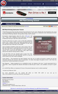 The Bill Plant Driving School has been training Driving Instructors for many years. Recently they have developed a new course in which candidates can 'fast track' their driving instructor training. This course is a residential course, taking place at the