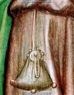 Detail from The Circumcision of Christ, c. Medieval Belt, Medieval Life, Medieval Costume, Medieval Clothing, European Costumes, Medieval Crafts, Tempera, 15th Century, Leather Pouch