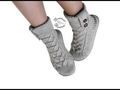 Knitting bootees knitting and crochet with Alla Egorova. Knitted Booties, Knit Shoes, Crochet Slippers, Baby Booties, Crochet Stars, Knit Crochet, Knitting Socks, Hand Knitting, Make Your Own Shoes