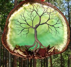 Wire Tree Of Life SPiRiT art sculpture GREEN Dendritic Agate slice, Amethyst Citrine Crystal and other Gemstones