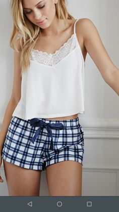 Love the PJ shorts - Forever 21 Plaid Flannel PJ Shorts Cute Sleepwear, Lingerie Sleepwear, Nightwear, Loungewear, Lazy Outfits, Cute Outfits, Pyjamas, Ropa Interior Babydoll, Pijamas Women