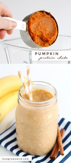 Turn your protein shake into a delicious pumpkin treat! Healthy, satisfying, and super tasty! | http://LoveGrowsWild.com