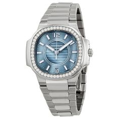 Patek Philippe Nautilus Blue Satin Finished Dial Stainless Steel... ($32,310) ❤ liked on Polyvore featuring jewelry, watches, blue watches, water resistant watches, stainless steel wrist watch, skeleton wrist watch and crown jewelry