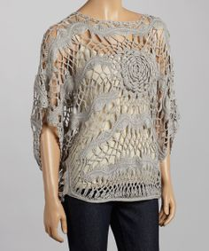 Gray Rose Crocheted Cape Sleeve Top